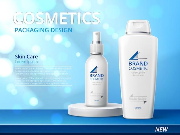 Affiche de produit de soins de la peau réaliste. bouteilles cosmétiques 3d sur fond brillant scintillant, bannière publicitaire, pack de marque beauté. conception de soins de la peau blanche pour le concept de vecteur de promotion