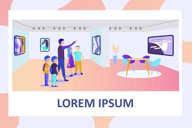 Affiche avec un professeur d'école et des enfants à la galerie d'art