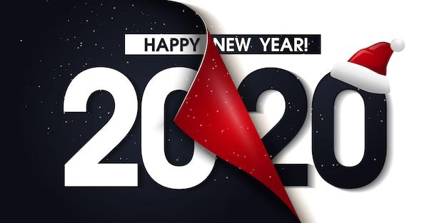 Affiche de promotion 2020 happy new year ou bannière avec papier cadeau ouvert