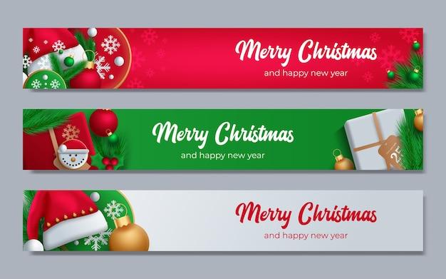 Affiche de promotion avec boules de noël, bonnet de noel, coffrets cadeaux, confettis et place pour le texte.