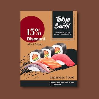 Affiche de promotion pour le restaurant de sushi