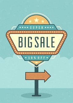 Affiche de promotion typographique de panneau d'affichage rétro
