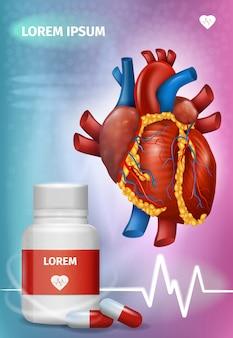 Affiche de promotion de vecteur réaliste de médicaments pour le cœur