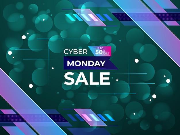 Affiche de promotion de vente cyber monday conception de bannière conception de publication sur les médias sociaux conception de cyber-annonces