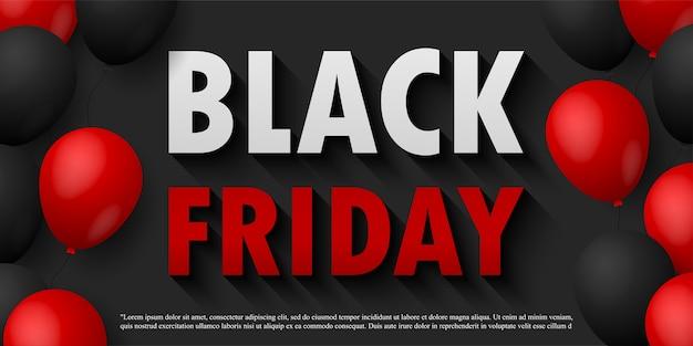 Affiche de promotion de vente vendredi noir ou bannière avec des ballons brillants sur fond noir, promo événement grande vente et modèle de magasinage isolé