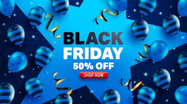 Affiche de promotion vente vendredi noir ou bannière avec concept de ballons