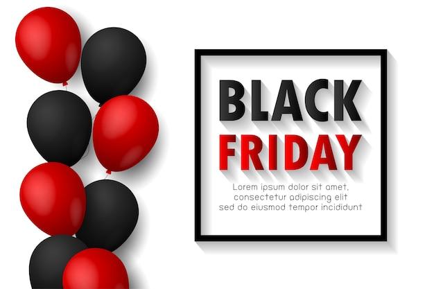 Affiche de promotion de vente vendredi noir ou fond de bannière avec des ballons brillants sur fond noir, promo événement grande vente et modèle de magasinage isolé
