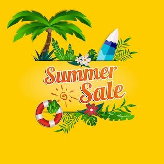 Affiche promotionnelle des médias sociaux sur les soldes d'été