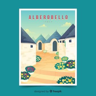 Affiche promotionnelle rétro d'alberobello