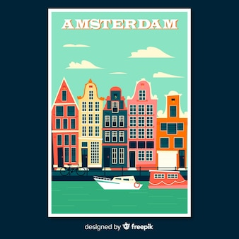 Affiche promotionnelle rétro d'amsterdam