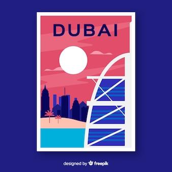 Affiche promotionnelle rétro du modèle de dubaï