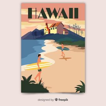 Affiche promotionnelle rétro du modèle d'hawaï