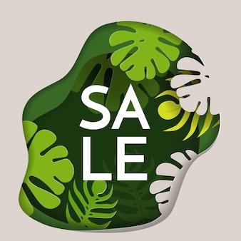 Affiche promotionnelle de vente avec une forêt tropicale épaisse à l'intérieur d'une forme inégale