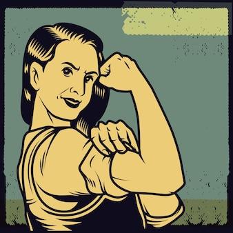 Affiche de propagande vintage et éléments du pouvoir féminin, des droits de la femme, de la protestation et du féminisme