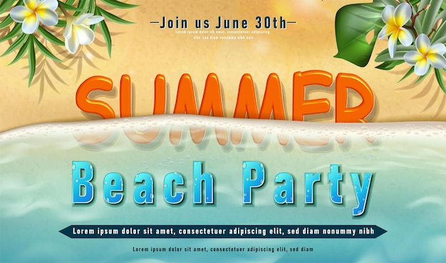Affiche de protection solaire d'été avec du sable avec des rayons de soleil et des feuilles tropicales et des vagues de l'océan