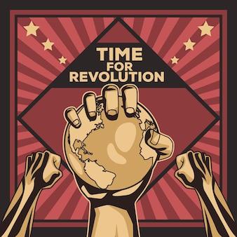 Affiche de protestation des mains et de la terre