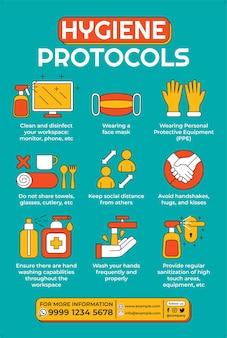 Affiche de protocole d'hygiène dans un style design plat