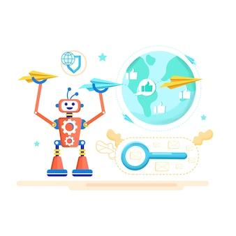 Affiche publicitaire antivirus pour dessin animé mail.