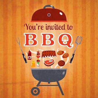 Affiche publicitaire de barbecue invitation événement