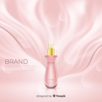 Affiche publicitaire cosmétique rose réaliste