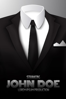 Affiche publicitaire de costume d'affaires masculin avec cravate noire et chemise blanche