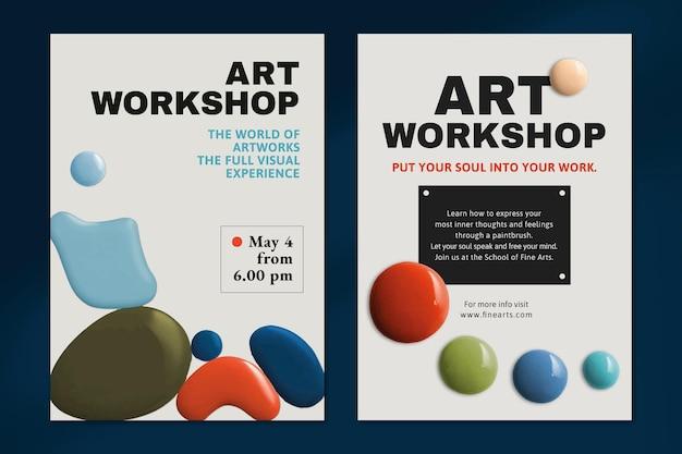 Affiche publicitaire d'événement coloré de vecteur de modèle de peinture de couleur moderne double