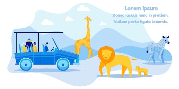 Affiche publicitaire excitant safari tour excursion