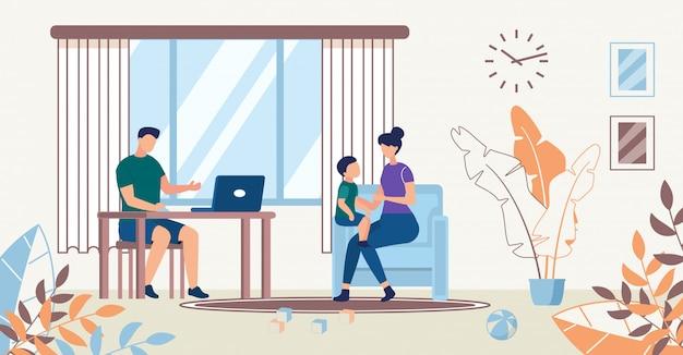 Affiche publicitaire. la famille passe du temps ensemble.