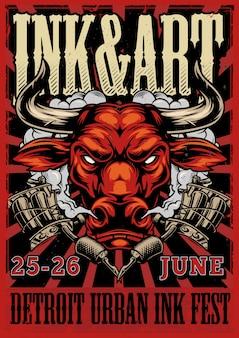 Affiche publicitaire de festival de tatouage vintage
