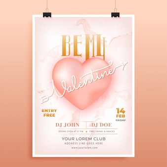 Affiche publicitaire ou flyer design avec be my valentine text et glossy heart