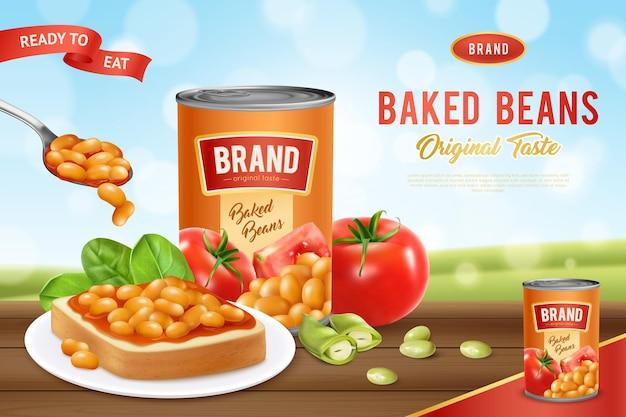 Affiche publicitaire de haricots blancs en conserve cuits dans une sauce tomate
