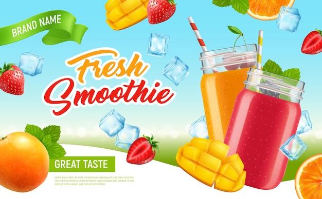 Affiche publicitaire horizontale réaliste de smoothie de cocktail de pot