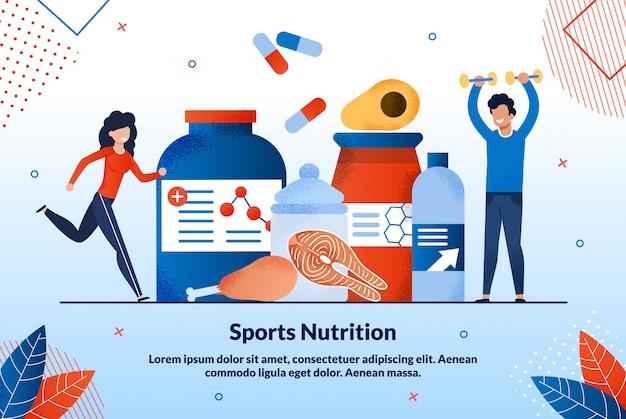 Affiche publicitaire de nutrition sportive lettrage.