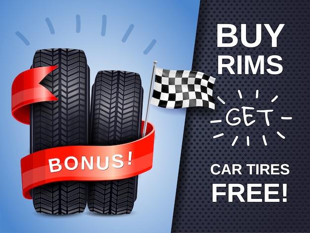 Affiche publicitaire de pneus de voiture réalistes