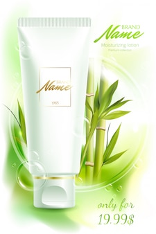 Affiche publicitaire pour produit cosmétique pour catalogue, magazine. paquet cosmétique. crème hydratante, gel, lotion pour le corps avec extrait de thé vert