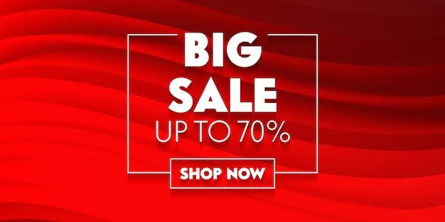 Affiche publicitaire promotionnelle de médias sociaux de grande vente avec typographie sur fond rouge avec vagues abstraites. conception de modèle de marque pour le rabais d'achat. décoration de contenu de toile de fond. illustration vectorielle