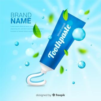 Affiche publicitaire réaliste de dentifrice frais
