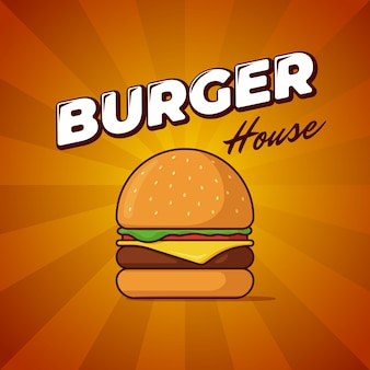 Affiche publicitaire de repas de restauration rapide de maison de hamburger avec des rayons et une inscription de lettrage délicieuse