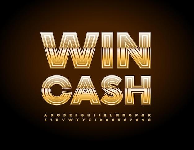 Affiche Publicitaire Vectorielle Win Cash Premium Gold Alphabet Letters And Numbers Set Chic Glossy Font Vecteur Premium