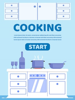 Affiche de publicité inscription cuisson dessin animé.