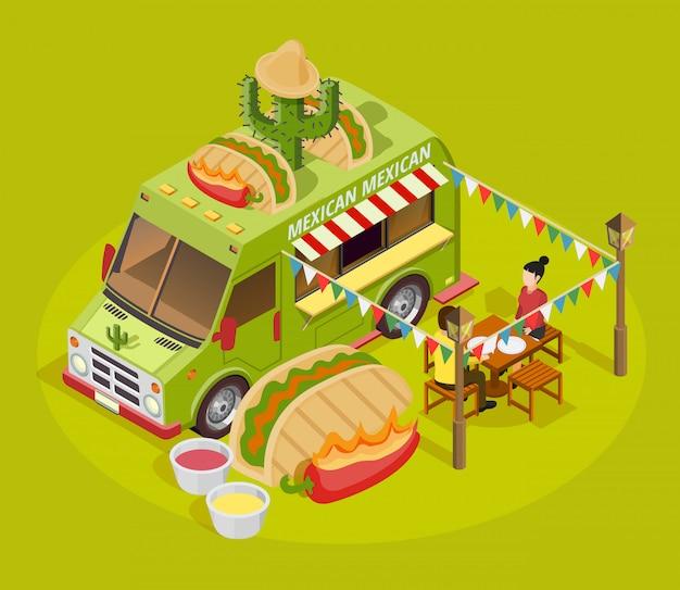 Affiche de publicité isométrique de camion de cuisine mexicaine