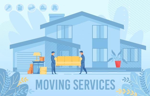 Affiche de publicité pour le service de déménagement d'appartements à domicile