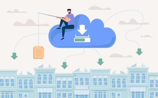 Affiche de publicité stockage de documents dans le cloud.