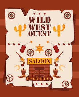 Affiche de quête de far west, illustration. symboles de style dessin animé d'aventures de cow-boy occidental américain.