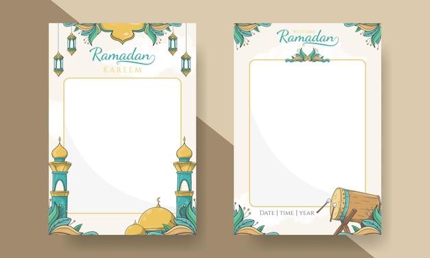Affiche de ramadan kareem avec ornement islamique dessiné à la main