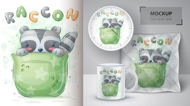 Affiche de raton laveur en tasse et merchandising