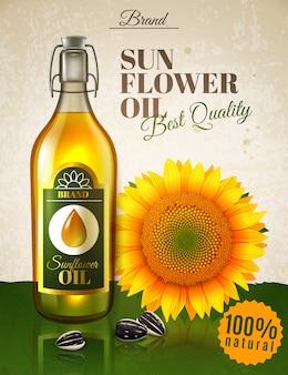 Affiche réaliste d'annonce d'huile de tournesol