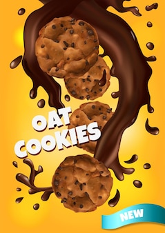 Affiche réaliste de biscuits à l'avoine avec de nouveaux symboles de goût