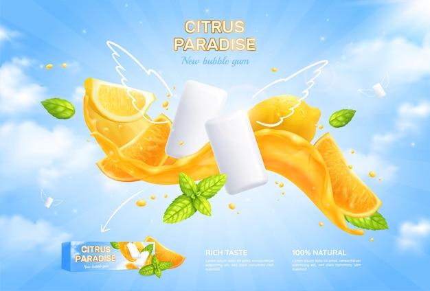 Affiche réaliste de bubble-gum avec illustration de paradis d'agrumes