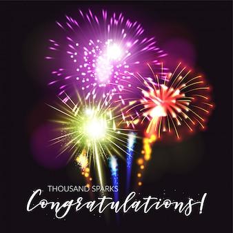 Affiche réaliste de feux d'artifice avec plaisir félicitations et illustration vectorielle de célébration